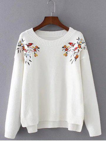 Outfit Chinese Painting Embroidery Jumper Sweater WHITE ONE SIZE