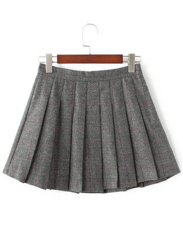 Sale Pleated Mini Wool Tennis Skirt GRAY L