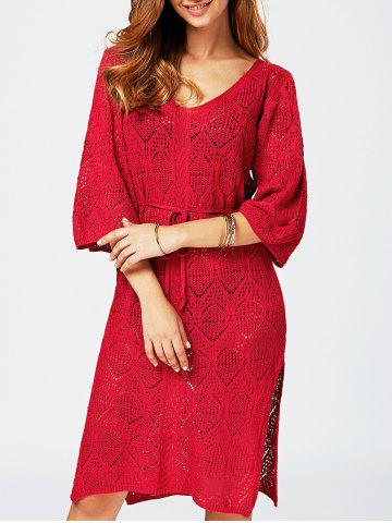 Affordable Hollow Out V Neck Sweater Dress