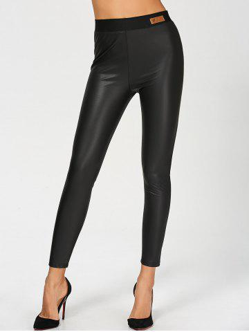 Best PU Leather High Waisted Ankle Skinny Pants BLACK 2XL