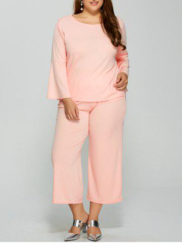 Latest Bell Sleeve Plain T-Shirt With Pocket Design Pants Twinset