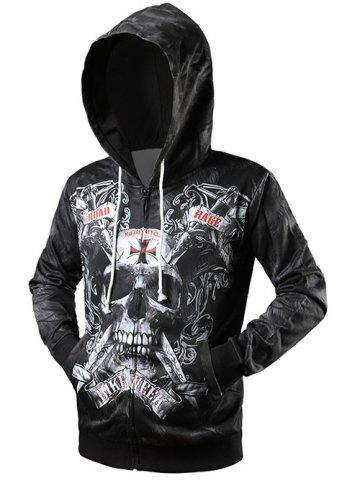 Fashion Skull 3D Print Drawstring Zip Up Hoodie BLACK 2XL