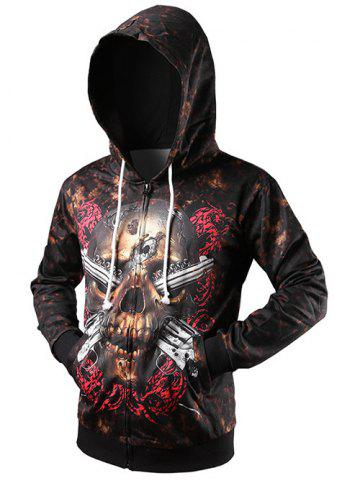 Store Zip Up Skull 3D Printed Drawstring Hoodie BROWN 2XL