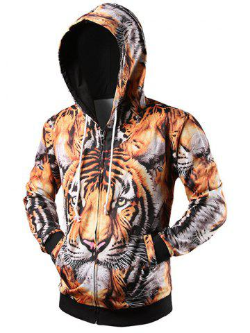 Outfits 3D Tiger Printed Drawstring Zip Up Hoodie YELLOW 2XL