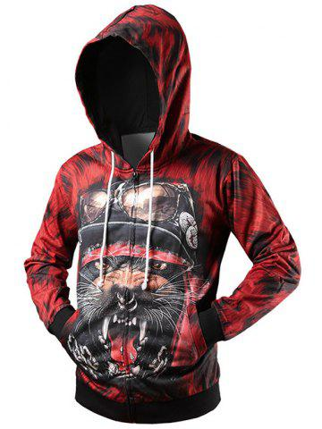 Zippered Rib Insert Graphic Hoodie - Red - M