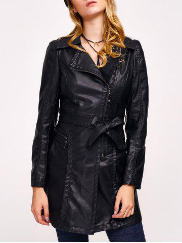 Fashion Faux Leather Zip Belted Coat