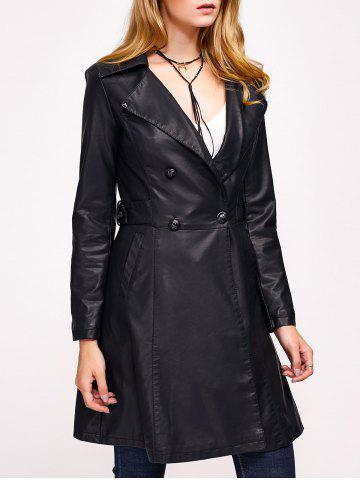 Buy Double-Breasted Faux Leather with Pockets Coat