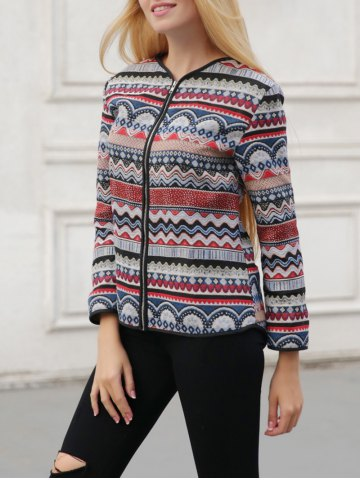 Online Ornate Print Zipper Design Jacket