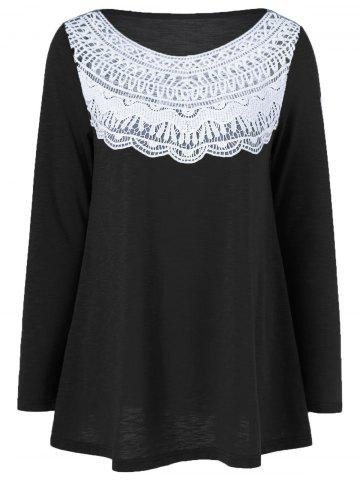 Lace Splicing Pleated T-Shirt - Black - M