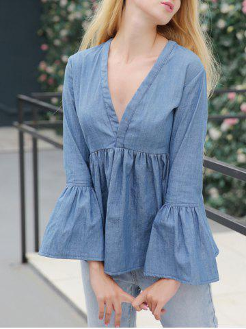 Buy Jean Bell Sleeve Peplum Ruched Blouse BLUE XL