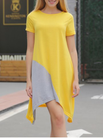 Online Asymmetrical Contrast Casual Dress With Short Sleeve