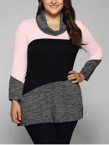 Plus Size Cowl Neck Heathered Blouse - Pink - 3xl