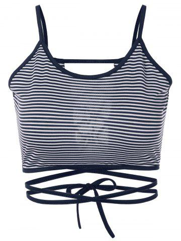Strappy Striped Cami Cropped Tank Top - Blue - S