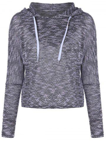 Unique Hooded Long Sleeve Drawstring Sweater GRAY 2XL