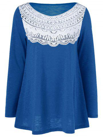 Lace Splicing Pleated T-Shirt - Blue - Xl