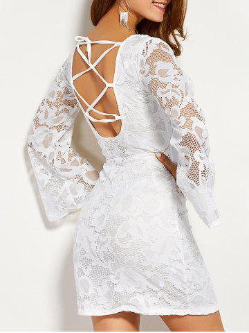 Hot Long Sleeve Lace Back Cut Out Dress