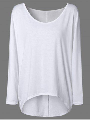 Hot High Low Plus Size Plain T-Shirt WHITE 2XL