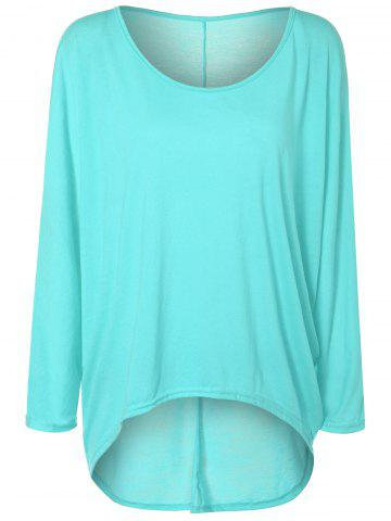 Latest High Low Plus Size Plain T-Shirt PHOTO CYAN 2XL