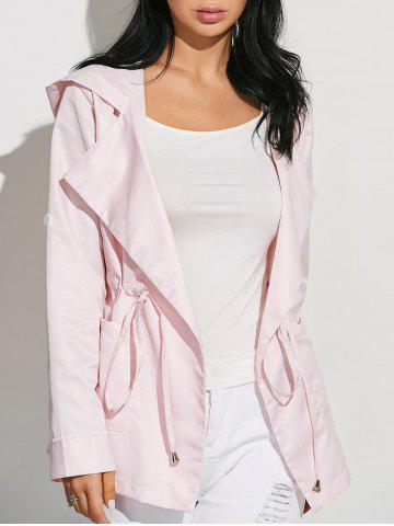 New Drawstring Waist Hooded Casual Trench Jacket PINK XL