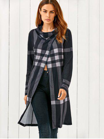 Fashion Cowl Neck Front Slit Plaid T-Shirt CHECKED M
