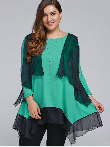 Chic Plus Size Overlay Chiffon Patchwork Asymmetrical Blouse