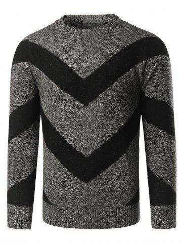 Fashion Crew Neck Striped Jacquard Pullover Heather Sweater DEEP GRAY L