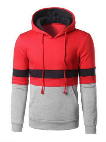 Best Color Block Kangaroo Pocket Pullover Hoodie RED L