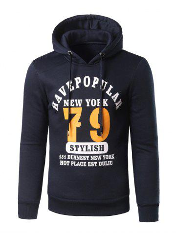 Affordable Slim Fit 79 Printed Pullover Hoodie CADETBLUE 4XL