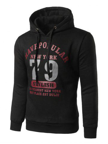 Slim Fit 79 Printed Pullover Hoodie - Black - M