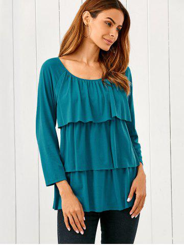 Best Raglan Sleeve Layered Blouse LAKE BLUE M