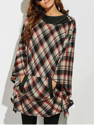 Online Side Collar Plaid Cape Blouse CHECKED M