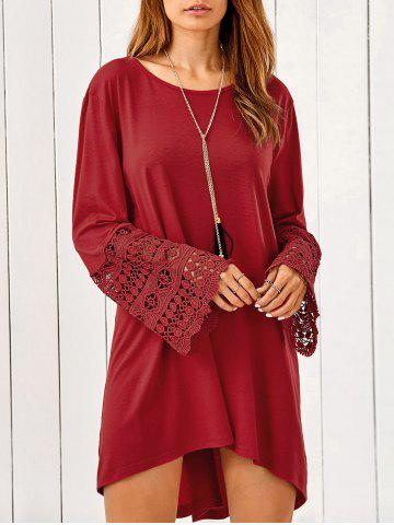 Store Lace Trim Long Sleeve High Low Tunic Dress DARK RED XL