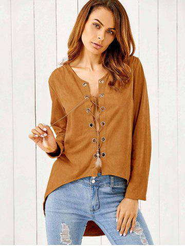 Latest Lace-Up Suede Pullover