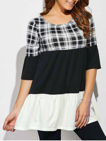 Sale Plaid Patchwork Babydoll Blouse