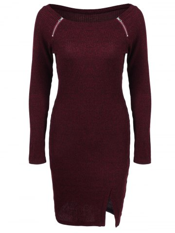 Shops Zippers Embellished Ribbed Casual Dress Winter DEEP RED XL