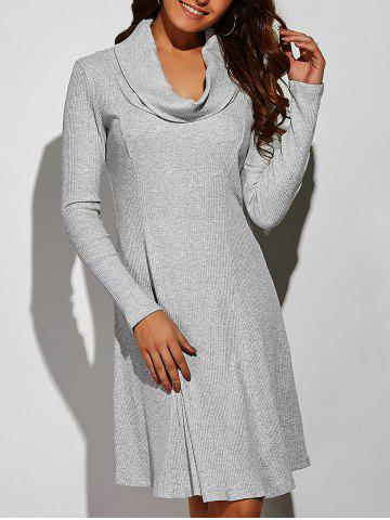 Store Cowl Neck Ribbed A-Line Dress