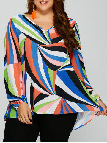 Best Plus Size Colorful Print High Low Blouse