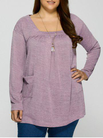 Shop Plus Size Square Neck Pockets Design Pullover LIGHT PURPLE XL
