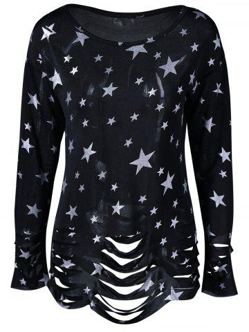 Unique Ripped Star Print T-Shirt