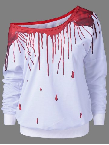 Outfits Skew Collar Paint Drip Sweatshirt RED/WHITE M