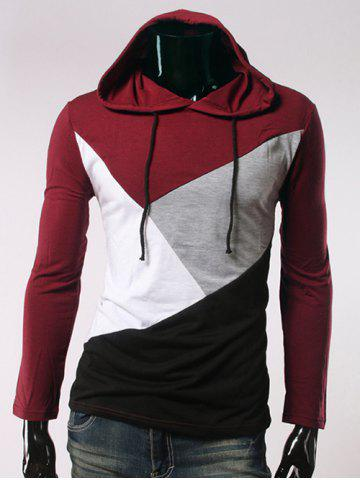 Long Sleeve Color Block Hooded T-Shirt - Red - M