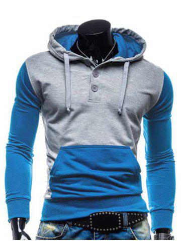 Latest Fashion Hooded Two Color Splicing Button Design Slimming Long Sleeve Cotton Blend Hoodie For Men