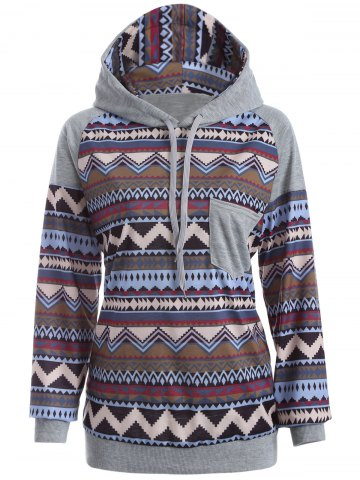 Affordable Tribal Print Raglan Sleeves Pocket Hoodie COLORMIX XL