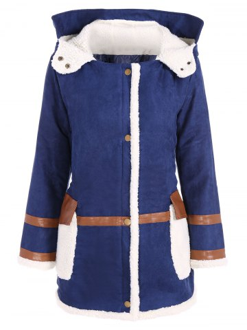 Hot Quilted Fleeced Faux Suede Hooded Coat BLUE 4XL