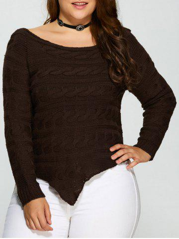 Chic Plus Size Asymmetric Hem Cable Knit Sweater DEEP BROWN 5XL