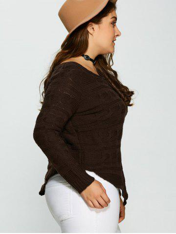 Unique Plus Size Asymmetric Hem Cable Knit Sweater - 5XL DEEP BROWN Mobile