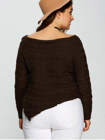 Best Plus Size Asymmetric Hem Cable Knit Sweater - 5XL DEEP BROWN Mobile