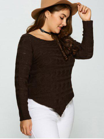 Buy Plus Size Asymmetric Hem Cable Knit Sweater - 5XL DEEP BROWN Mobile