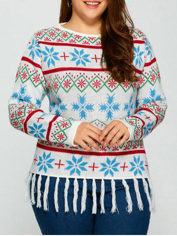 Cheap Plus Size Snowflake Pattern Tassel Trim Sweater WHITE 5XL