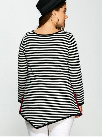 Buy Plus Size One Pocket Asymmetric Striped Sweater - 3XL COLORMIX Mobile